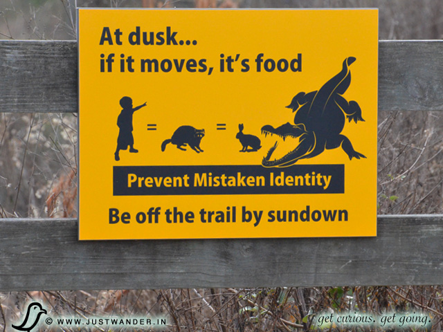 PIC: Why there are no dogs allowed at La Chua Trail - sign says - At Dusk, if it moves... it's food!