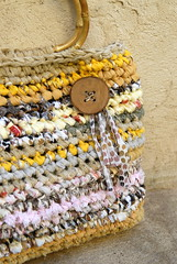 Yellowish Rag Basket - detail
