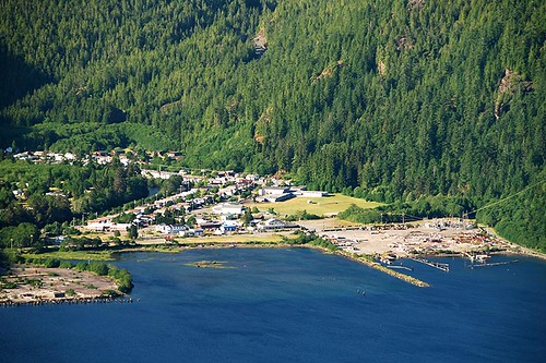 The Village of Tahsis on Tahsis Inlet, North Vancouver Island, British Columbia, Canada