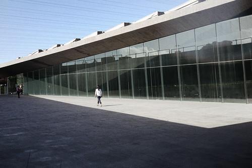 walking through museum courtyard