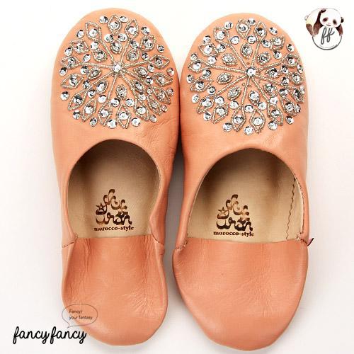 84.亮銀刺繡Blingbling皮拖鞋(摩洛哥製)-淺粉色