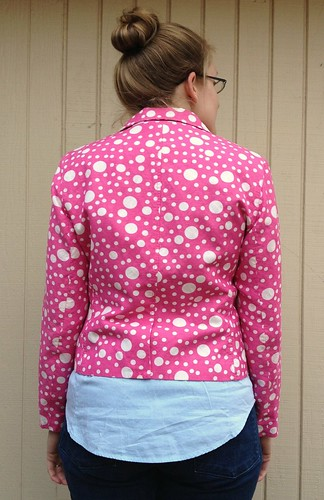Pink Polka Dotted Blazer Refashion - Before