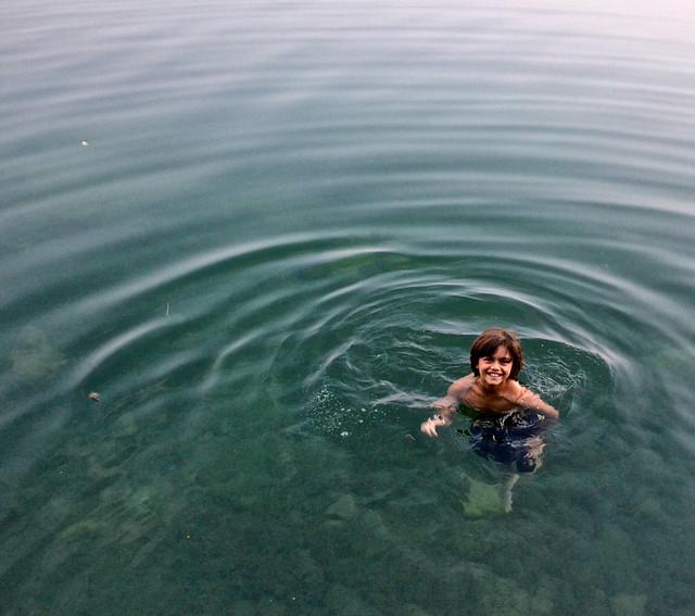 swimming in peten itza lake el remate guatemala