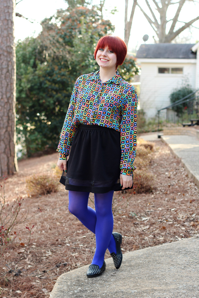 80s Geometric Print Shirt Black A Line Skirt Bright Blue