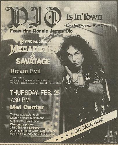 02/25/88 Dio/ Megadeth/ Savatage @ Met Center, Bloomington, MN