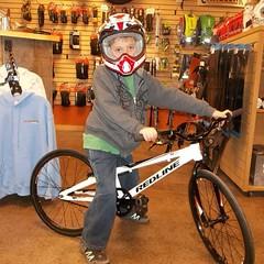 Wyatt S. And his new @redlinebicycles MX Mini and @kaliprotectives race helmet #bmx @redline_bmx