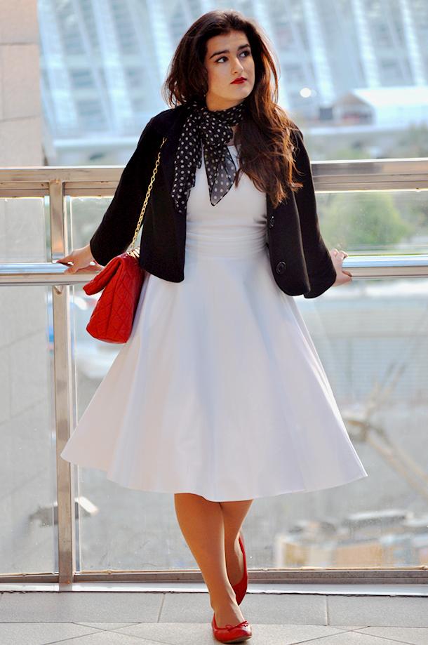 something fashion petticoat fifties fashion valencia blogger, white 50's dress pinup style, bolero vintage blogger zara bag sexy style 1950