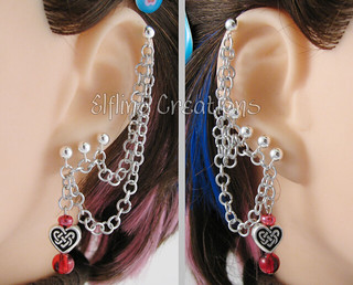 Silver and Red Cartilage Chain Earrings