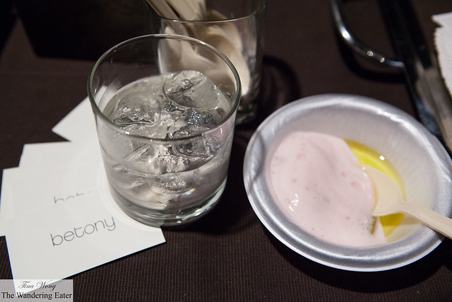 Betony Milk Punch and Prawns, Rhubarb foam, olive oil by Betony