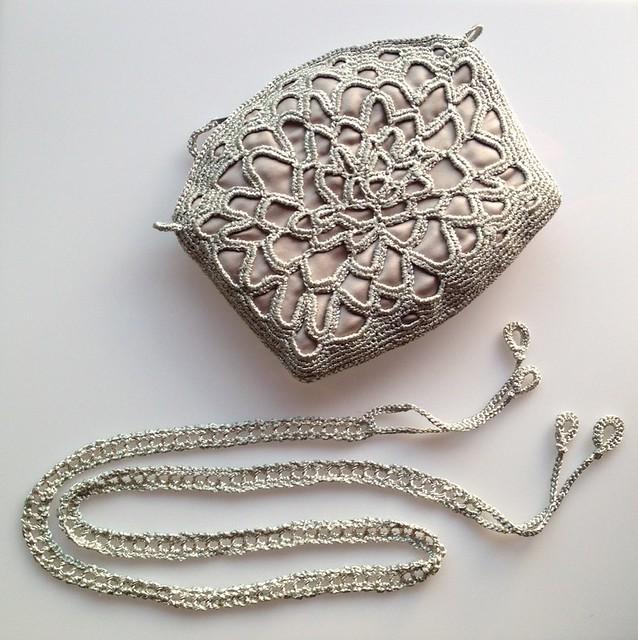 silver crochet clutch