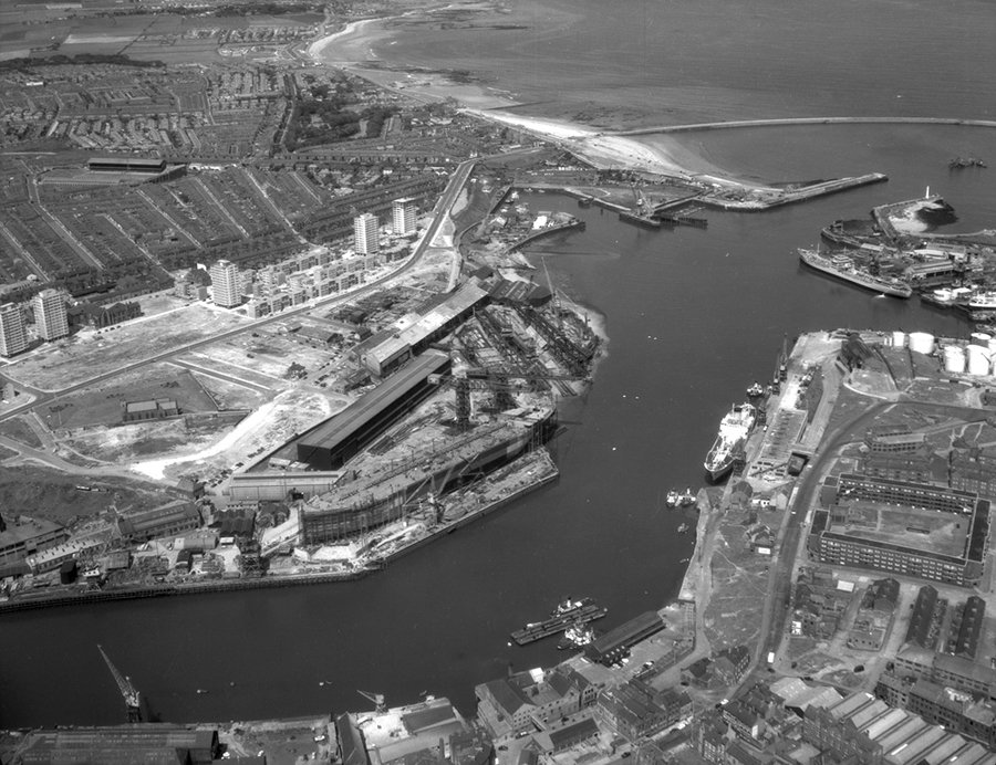 Aerial view of the North Sands shipyard, 1964