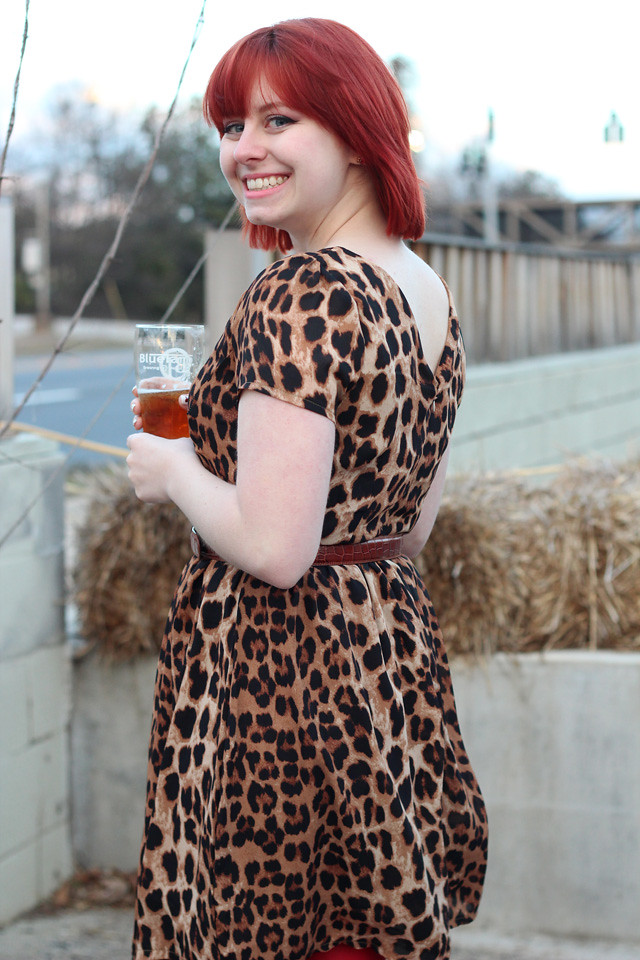 Leopard Print Dress with Bright Red hair