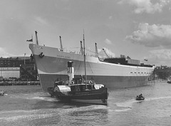 The cargo ship 'Silverlaurel' afloat after launch