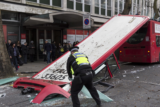 Double-deck bus accident in Central London