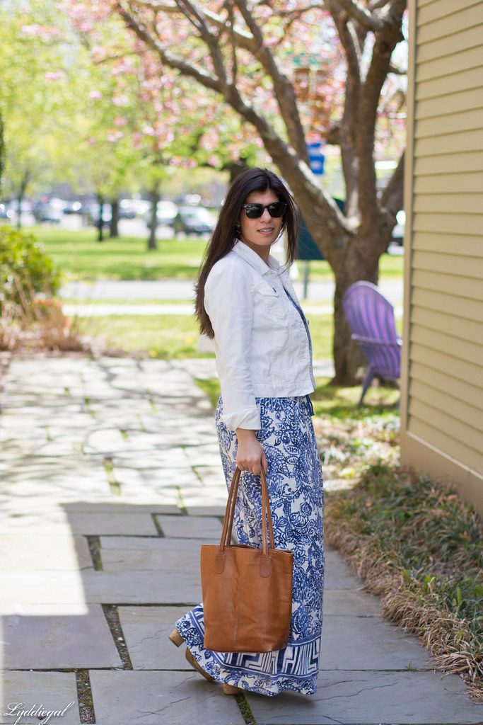 floral maxi dress, white denim jacket, brown tote-1.jpg