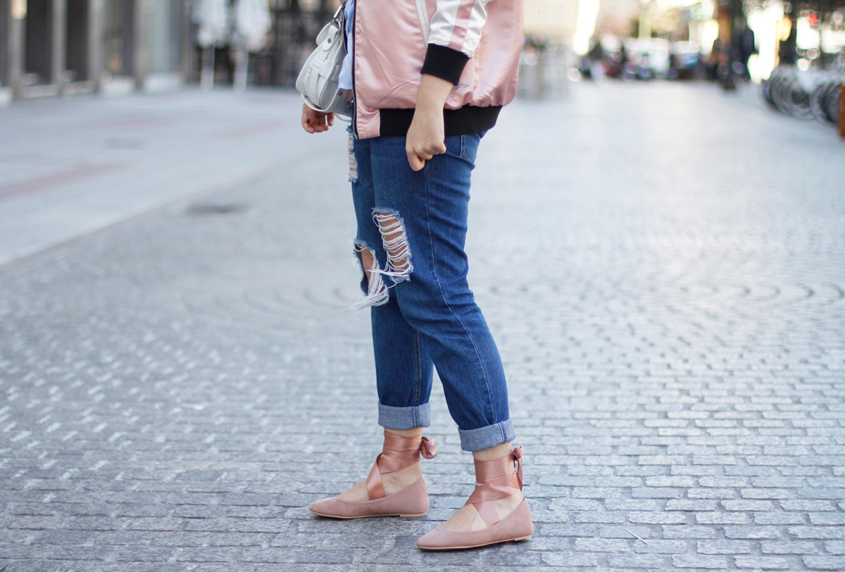 pink bomber with boyfriend jeans and ballet flats streetstyle asos myblueberrynightsblog