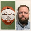 #Origami #self-portrait - It doesn't look that much like me, but at least it came out as a #man with a #beard...