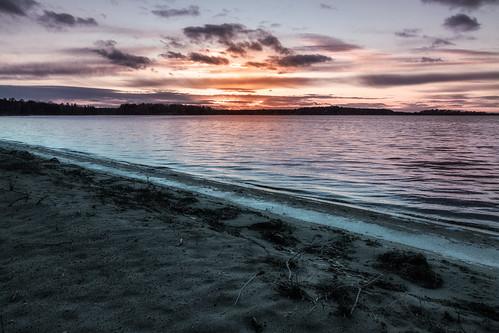 minnesota crosslake lake chain whitefish sunset fall beach