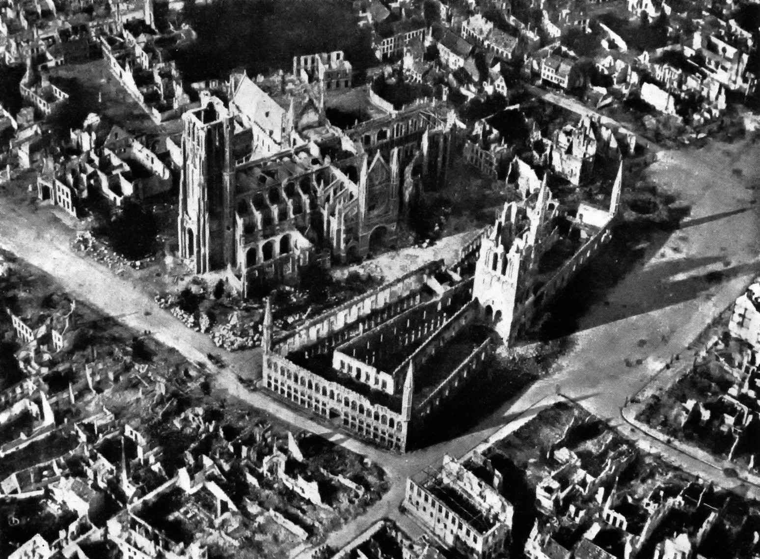 Aerial photo of Ypres Belgium, 1917