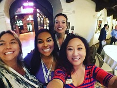 At the #missioninn with April Schmidt Barrios, Alma Schwartz, Jennifer Higgins, and me! @lady_fireworks @abrella0429 @rejenniferh i am the only one looking at the wrong camera!! :)
