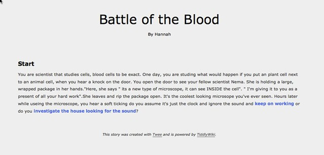 Battle of Blood interactive fiction