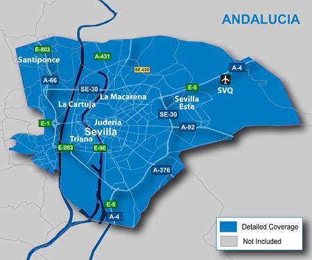Mapa do aeroporto em Sevilha
