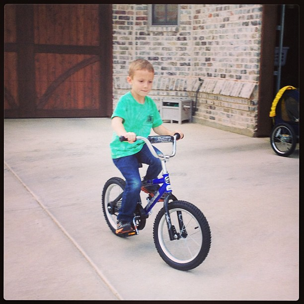 Best Mother's Day present? Adam learned to ride his bike without training wheels.