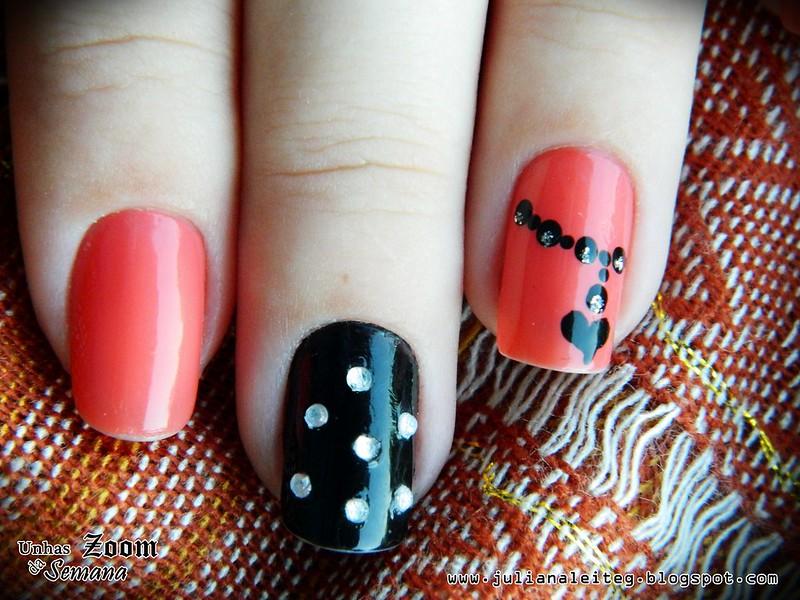 juliana leite unhas decoradas nail art pingente preta pedras 016