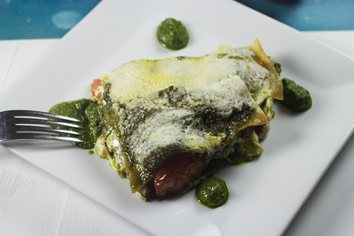 Heirloom Tomato & Spinach Basil Pesto Lasagna
