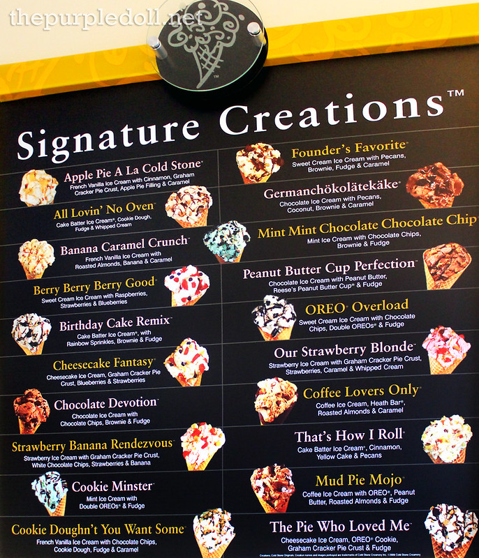 Cold Stone Creamery Signature Creations Menu