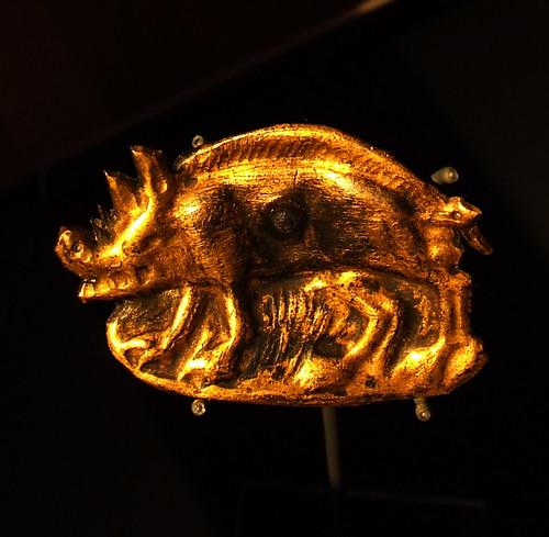 Medieval gold boar brooch