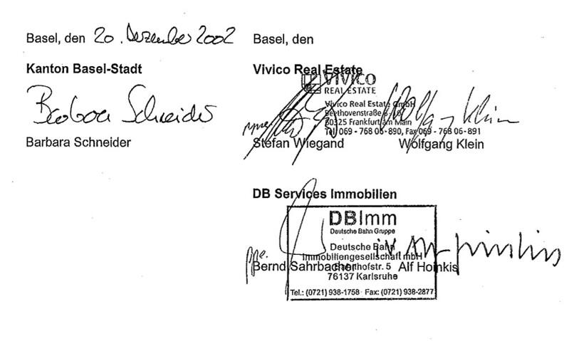 Unterschriften Städtebaulicher Rahmenvertrag