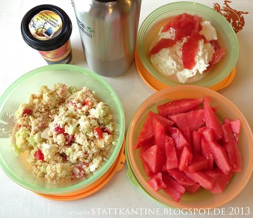 Stattkantine 8. Juli 2013 - Couscous-Salat, Quark mit Grapefruit, Mango-Lassi