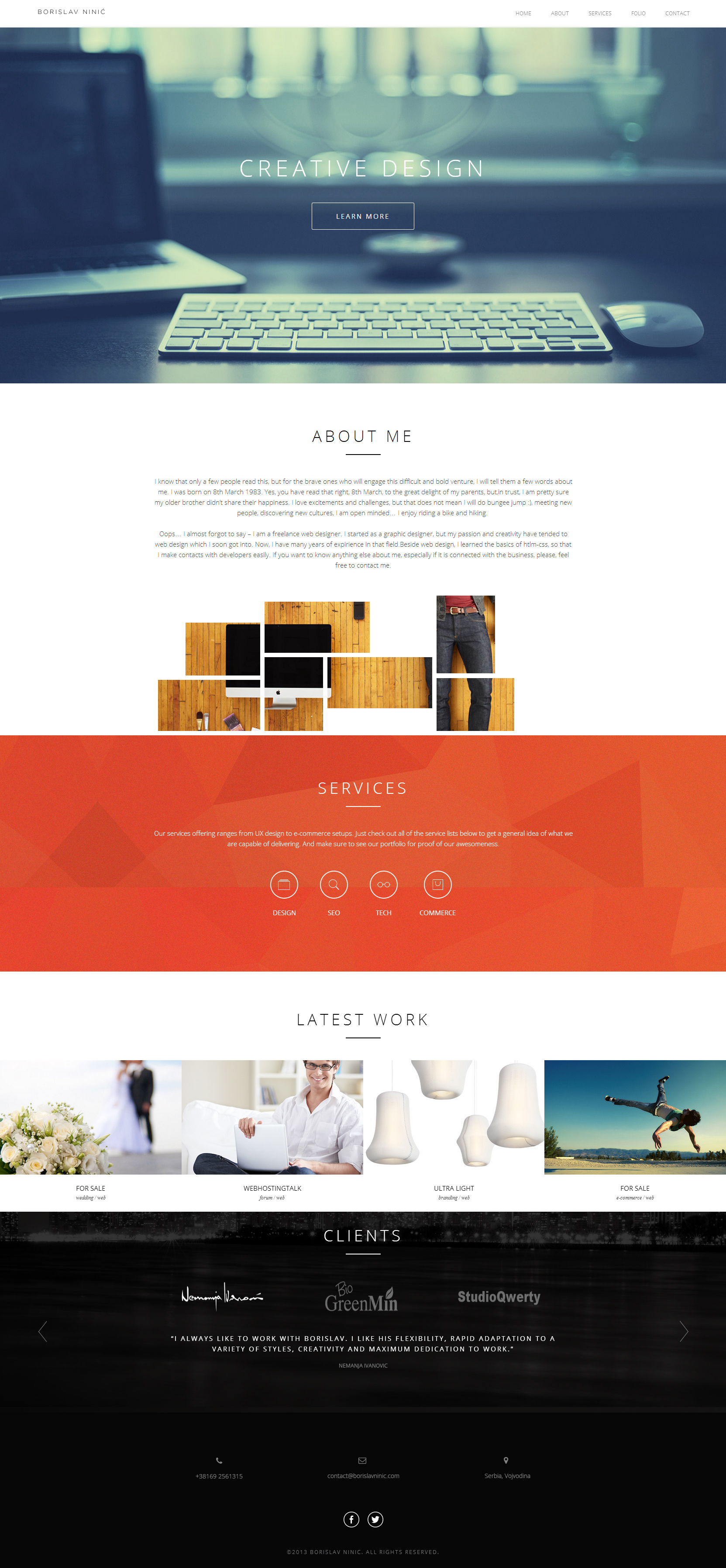 Borislav Ninic One Page Responsive Website