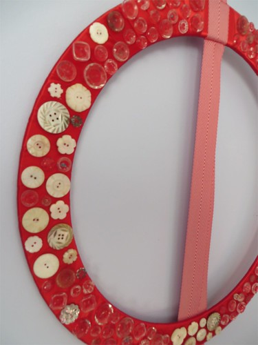 Vintage Crystal and Mother-of-Pearl button wreath