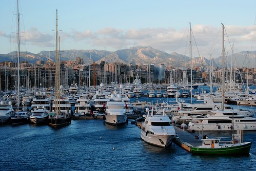 Harbor with the mountains