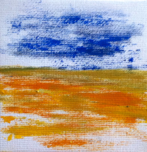 Blue Sky Golden Field (Mini-Painting as of December 4, 2013) by randubnick