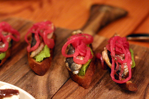 sardine toasts at Contigo