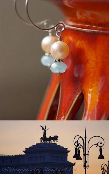 aquamarine pearl earring
