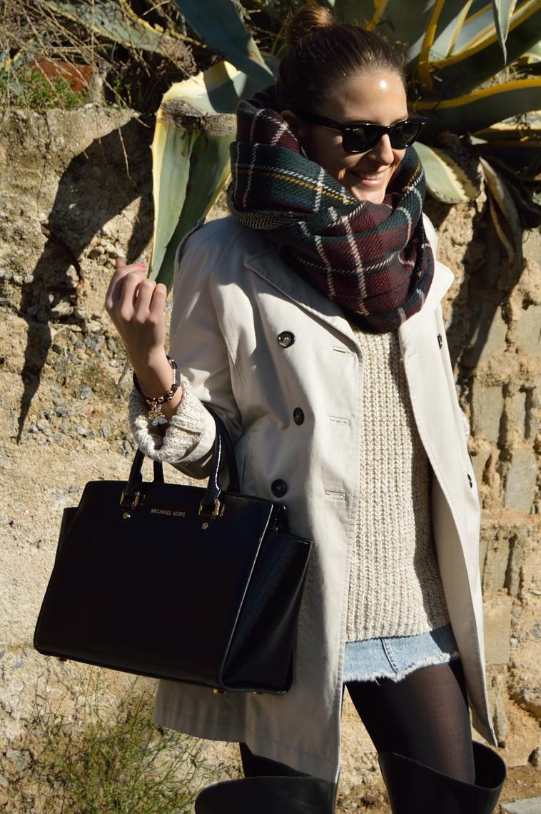 Lara-vazquez-madlula-blog-fasgion-style-tartan-foulard-trench