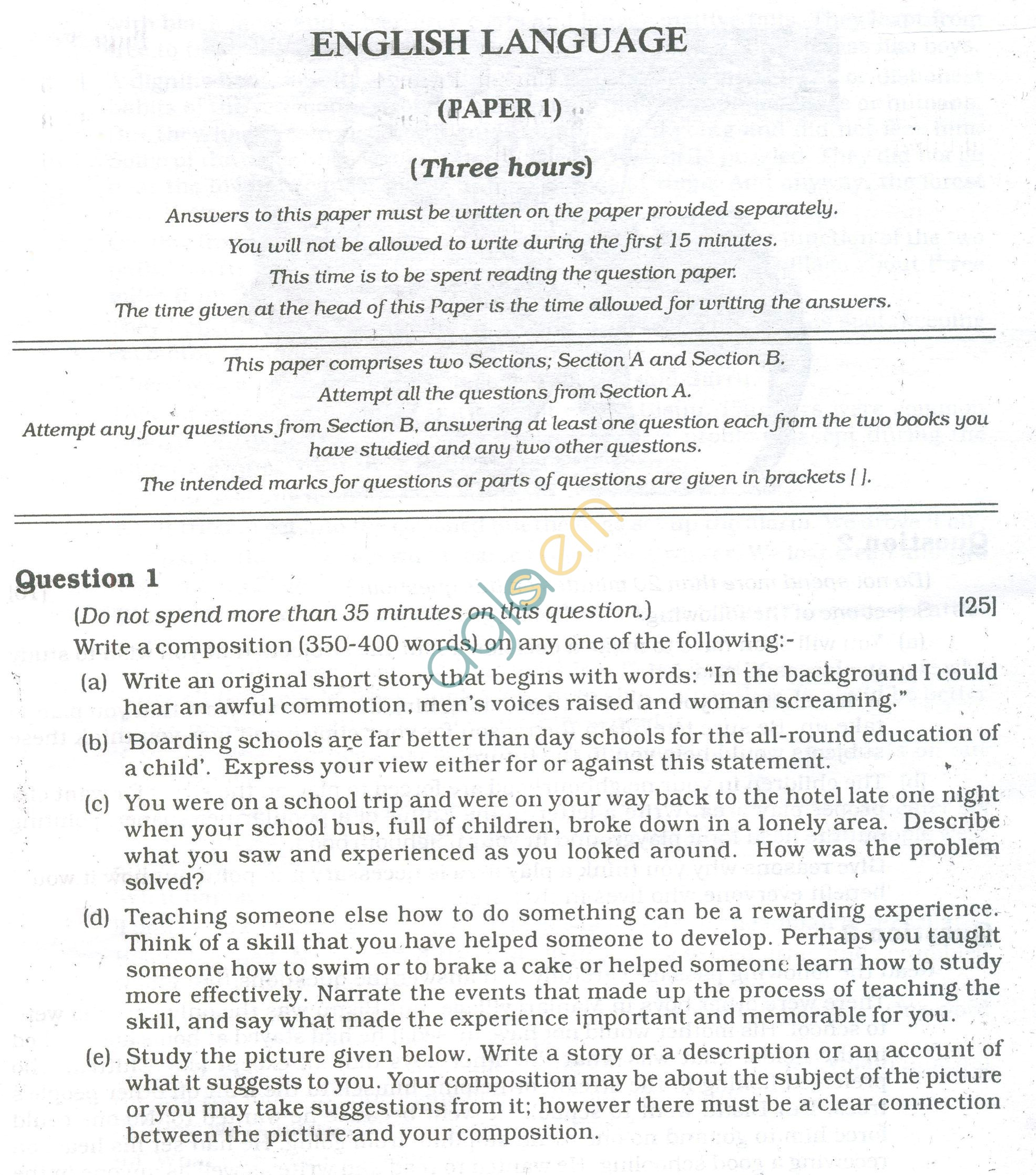 ICSE Question Papers 2013 for Class 10 - English Paper - 1