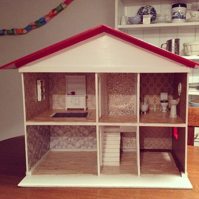 1,000 mini paddle pop sticks, one whole bottle of PVA glue and three days later, and the doll house renovation is finished, ready in time for Emerson's 2nd birthday tomorrow. Phew! #dollhouse #renovation #acertaintypeofcrazy