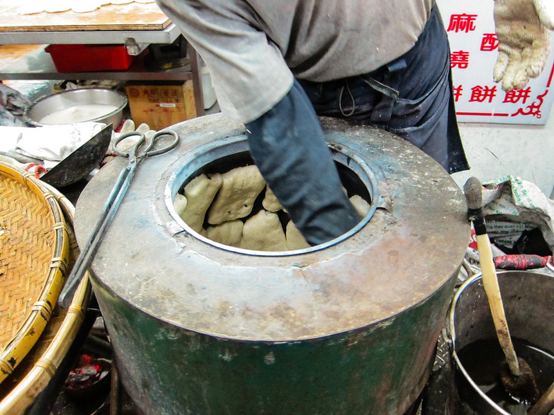 Scallion Bread Barrel at Taiwan's Shilin Market