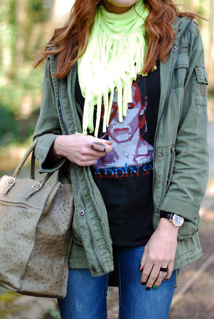 Neon scarf, khaki jacket & rock tee