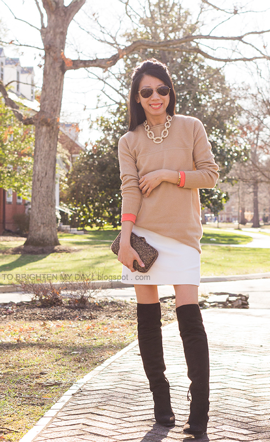 camel sweater, orange tee, white skirt, tweed clutch, brown suede over the knee boots