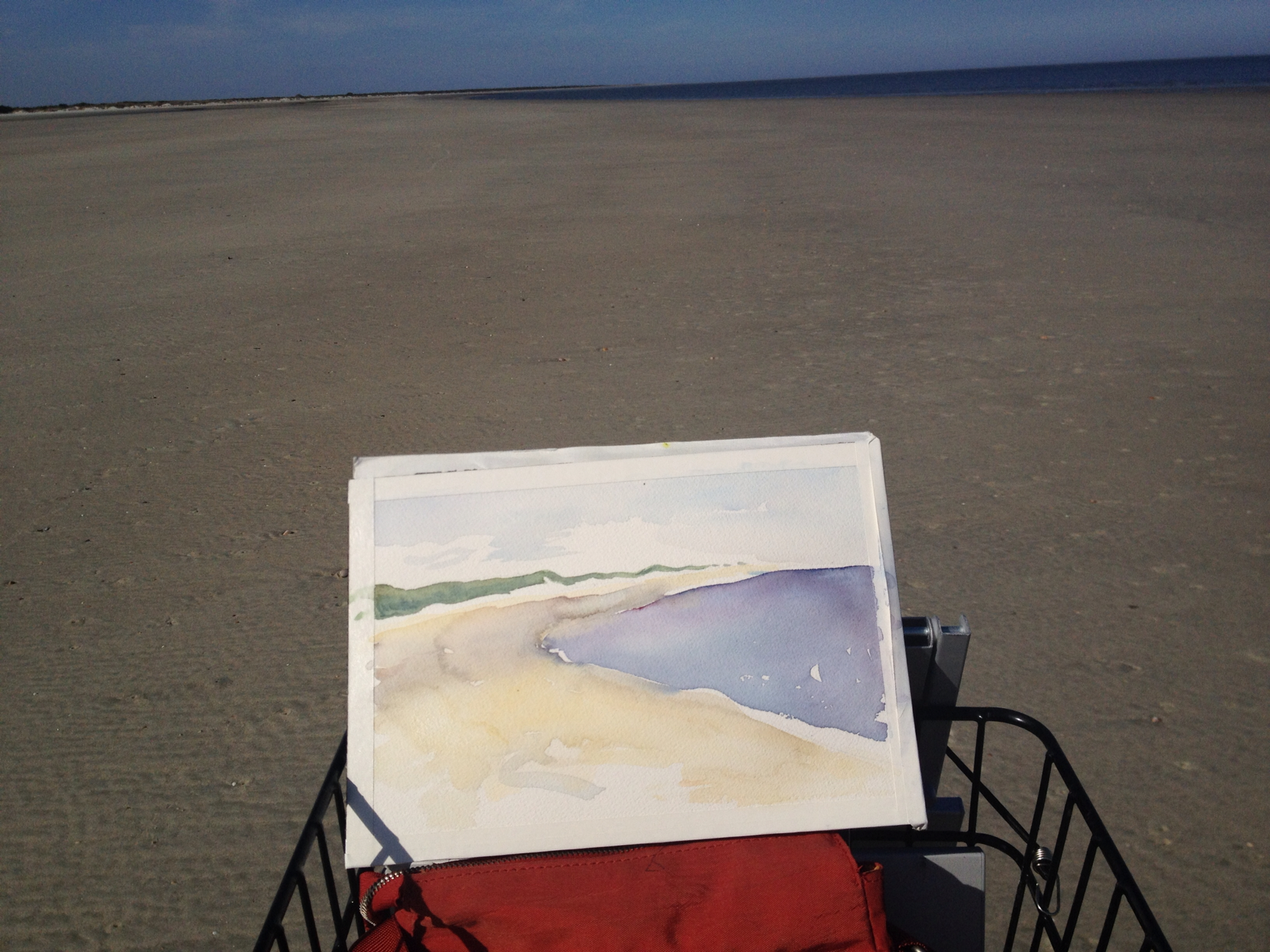 Using the front bike basket as an easel. Main Beach, Little Saint Simons Island, Georgia.
