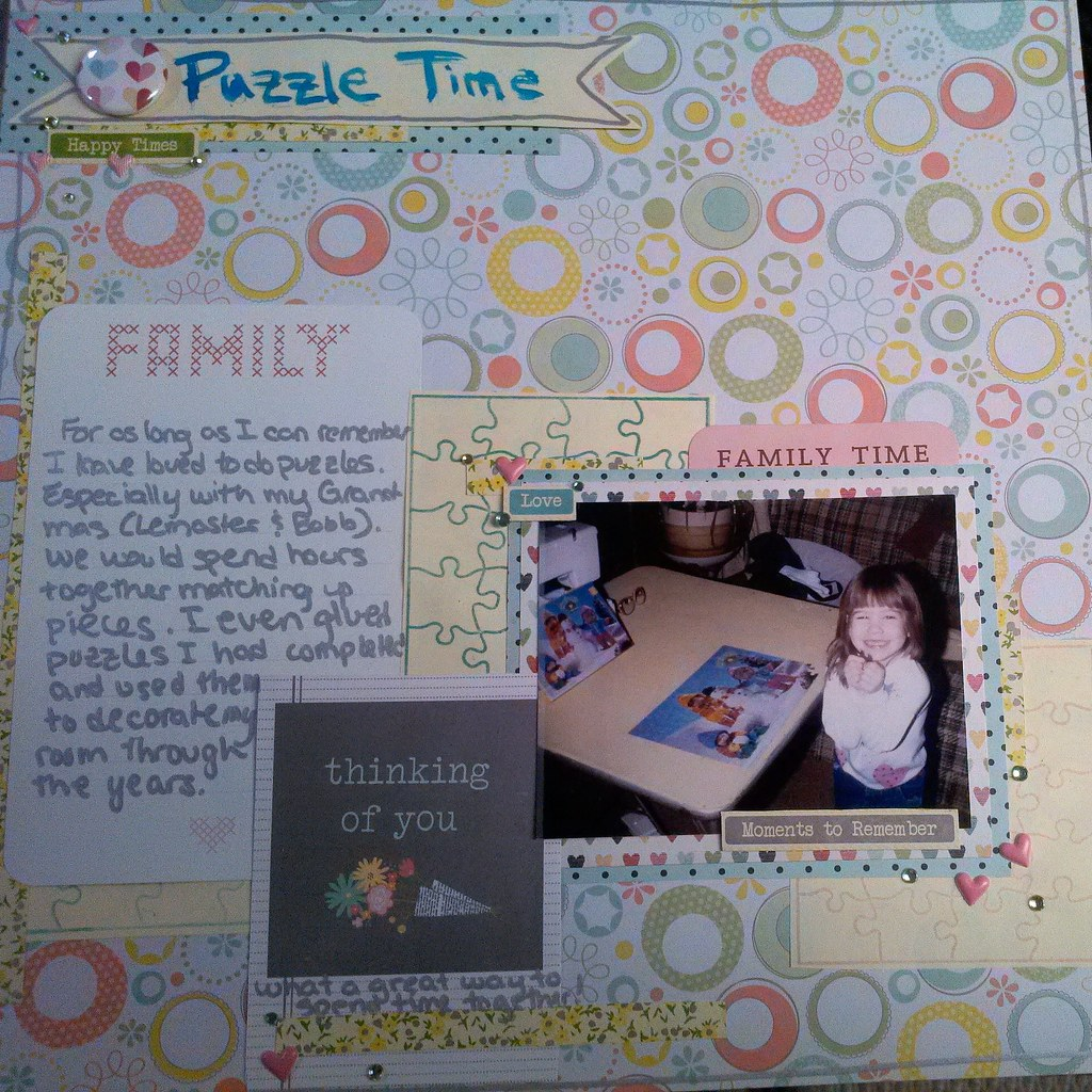 Scrapbook layout about doing puzzles with my Grandparents for LOAD514