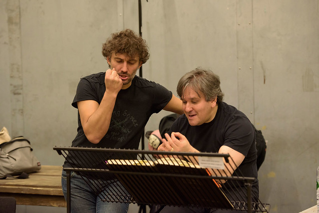 Music Director, Antonio Pappano with Jonas Kaufmann in rehearsal for Andrea Chénier © ROH. Bill Cooper 2015
