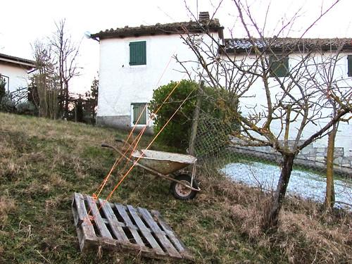 tiranti per alberi da frutta fatto con i bancali e corde