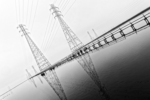 blackandwhite abstract reflection water landscape pier overcast diagonal electricity paloalto mountainview sanfranciscobay pylons baylands